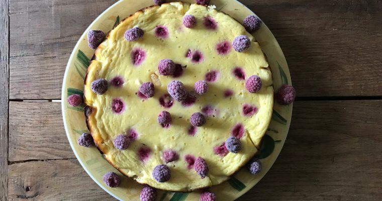 white chocolate cheesecake met frambozen