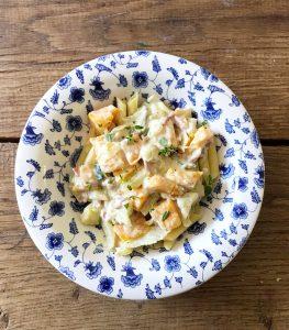 Pasta met pompoen, blue d'auvergne en courgette