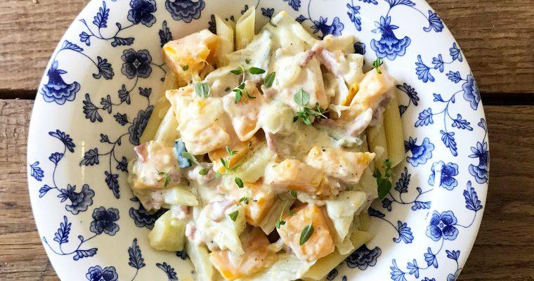 pasta pompoen courgette en blue d'auvergne
