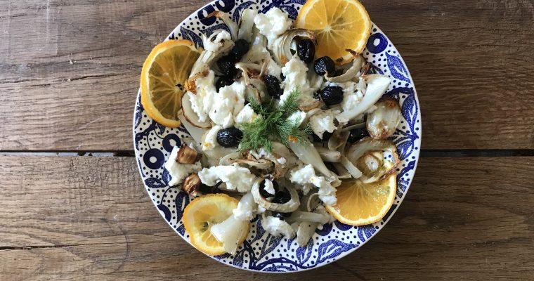 Venkelsalade buffelmozzarella en pistachenoten