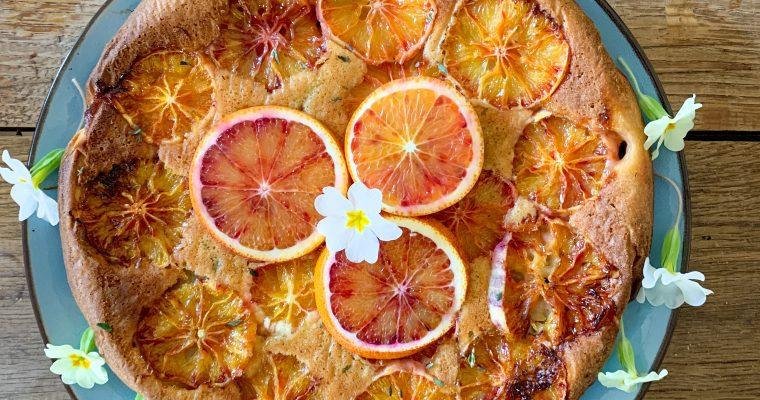Bloedsinaasappel tijm taart met ricotta en amandelmeel
