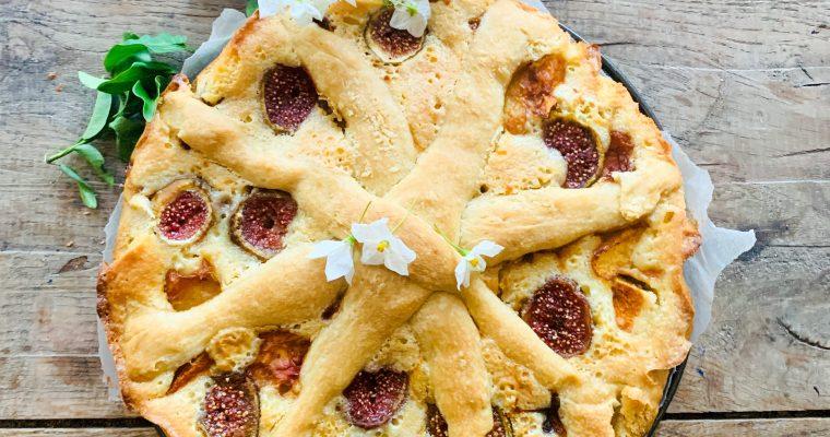 Vijgen perzik taart met frangipane