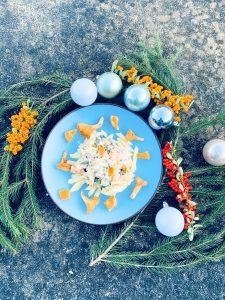 Super lekkere pompoen pasta met cantarellen