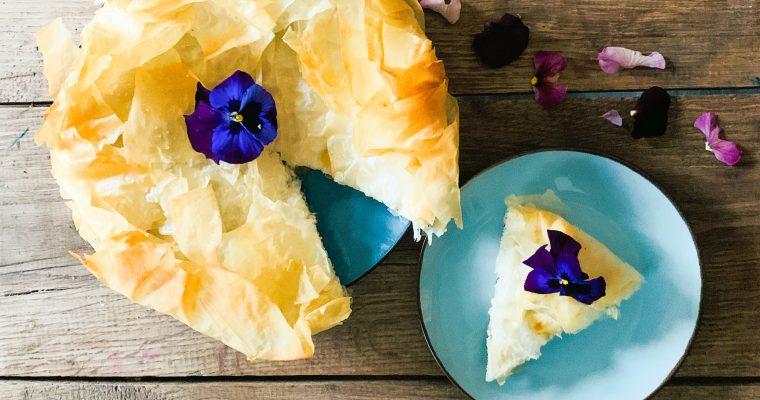 filodeeg taart met roodlof 3 soorten kaas en witte port